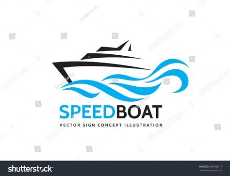 speed boat logo abstract speed boat blue sea waves stock vector 539456917