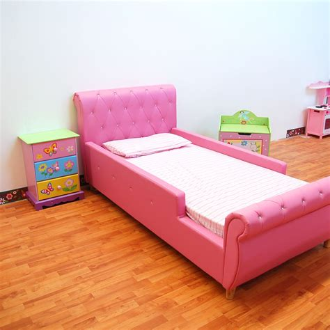 toddler bed girls pink kids girls boys standard single pu leather diamond