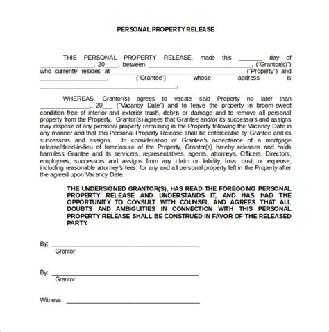 personal property release form template 15 property release forms to for free sle
