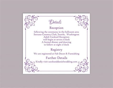 diy wedding details card template editable text word file