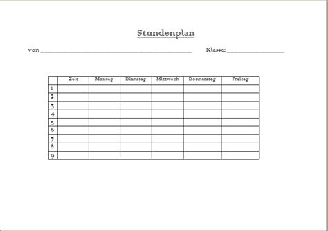 Word Vorlage Stundenplan Preview