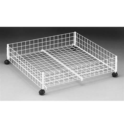 under bed rolling storage rolling underbed cart white metal storage organizer box