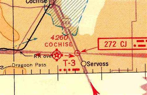 Arizona Sectional Chart by Abandoned Known Airfields Southeastern Arizona