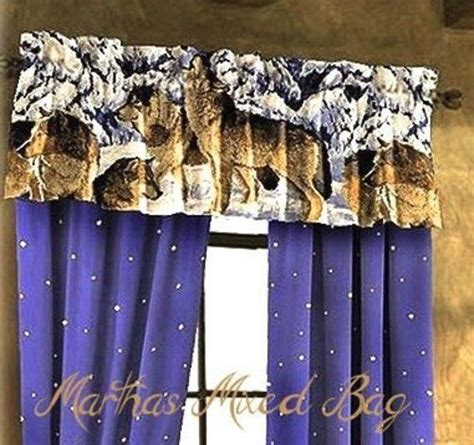 wildlife curtains window treatments wolves howling wildlife wolf cabin lodge blue window