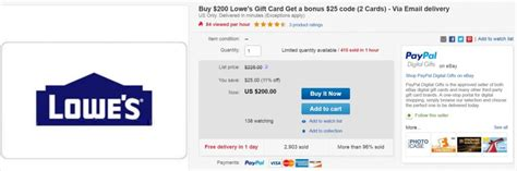 Pay Lowes Credit Card With Gift Cards - discounted lowe s itunes and gas gift cards on ebay frequent miler