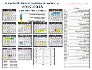Calendar 2018 School 2017 2018 School Calendar Starkville School District