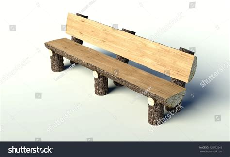 bench made out of tree trunk wooden bench made of tree trunks object stock photo