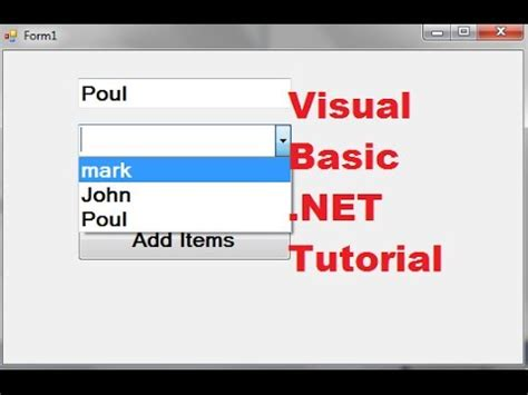 tutorial visual basic access visual basic net tutorial 43 how to use a combobox