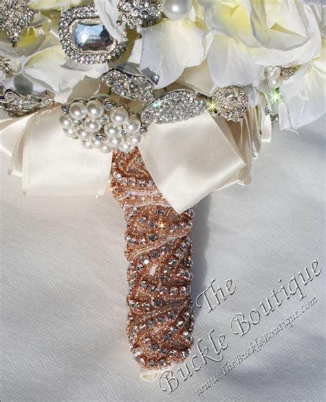 Wedding Bouquet Ribbon Wrap by Gold Beaded W Rhinestones Bridal Bouquet Bling