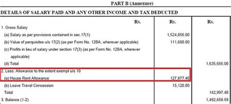 hra exemption section 10 how to show hra not accounted by the employer in itr