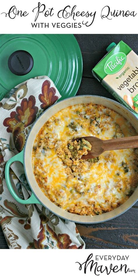 one pot cheesy quinoa with veggies this vegetarian meal