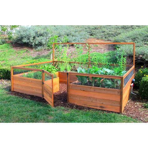 cedar raised bed cedar complete raised garden bed kit 8 x 12 x 20