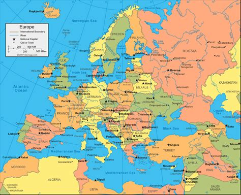 europe map map of europe capitals