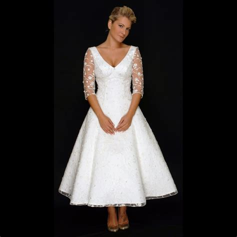 tea length wedding dresses tea length vintage style lace wedding dress with sleeves