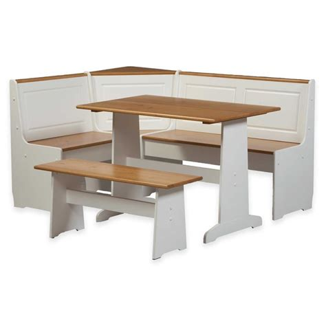 Dining Nook Table Set Linon Ardmore Breakfast Corner Nook Table Set Wood Dining Sets In White Ebay