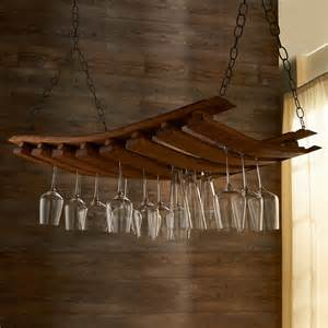 barrel stave hanging stemware rack vino grotto