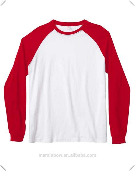 Plain Sleeve Kaos Lengan Panjang Polos Merah kualitas terbaik desain polos merah putih sisir ring