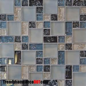 Blue Glass Tile Kitchen Backsplash Blue Crackle Glass Mosaic Tile Tile Backsplash Ideas