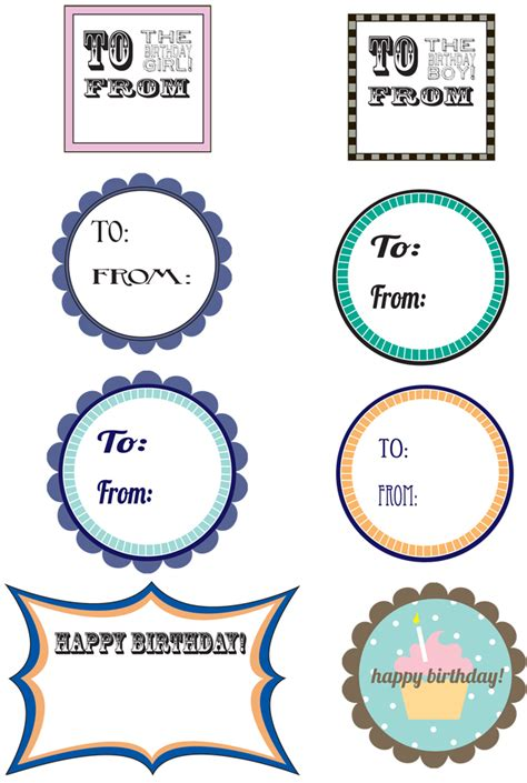 printable tags birthday free printable birthday gift tags pizzazzerie