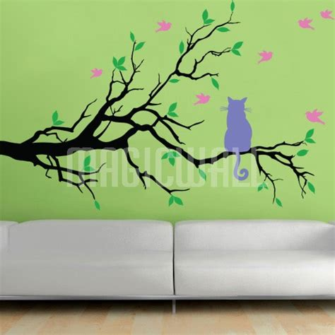 tree branch wall stickers wall decals cat on branch with birds wall stickers