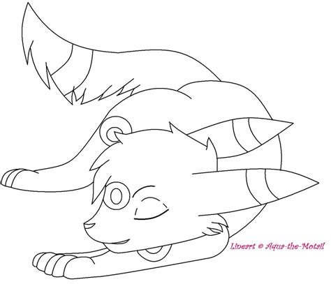 Umbreon Lineart Old By Tobiseh On Deviantart Umbreon Coloring Pages