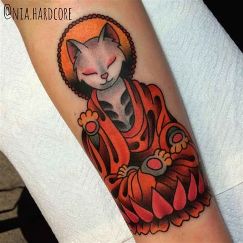 neo trad cat tattoo meditating cat traditional tattoo best tattoo ideas gallery