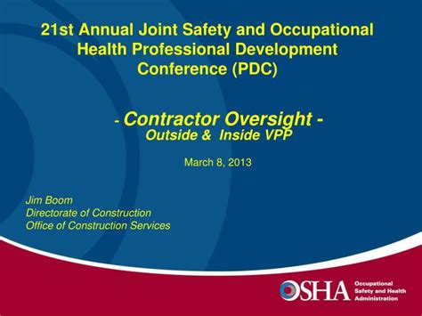joint occupational health and safety ppt 21st annual joint safety and occupational health