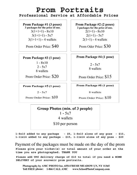 Photography Packages by Photography Package Price List Nyc Affordable And