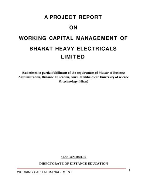 Mba Project On Working Capital Management Pdf by A Project Report On Working Capital Management Of Bharat