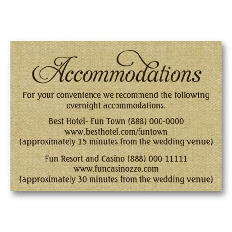 wedding accommodations cards wedding ideas and thoughts