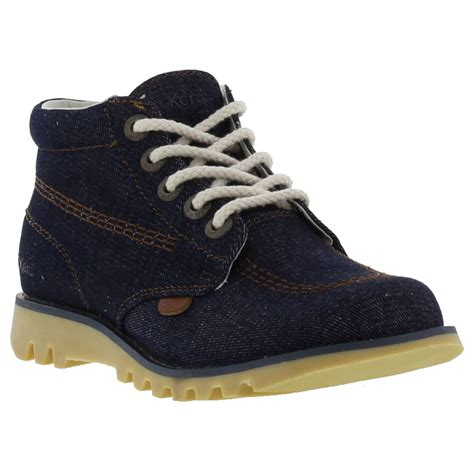Kickers Safety Boots 01 kickers mens kick hi blue denim ankle boots limited edition size 7 ebay
