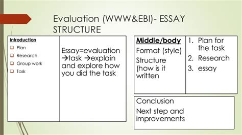 essay structure evaluate essay