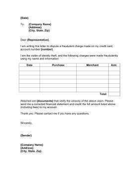 credit card dispute letter template