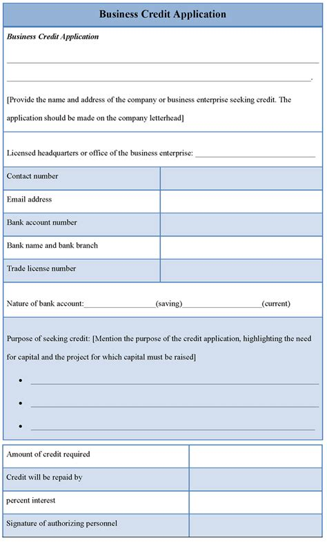 application template  business credit sample