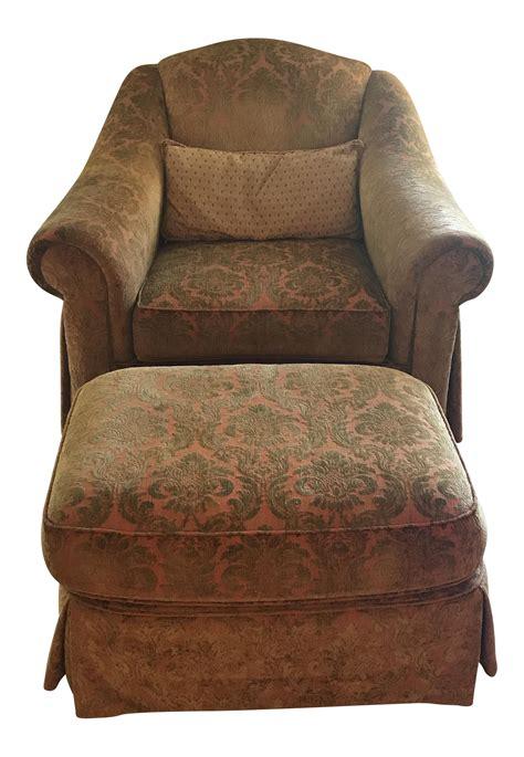 chenille chair and ottoman thomasville chenille chair ottoman chairish