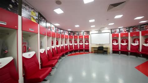 changing room football moscow russia circa december 2014 pan view of spartak football team dressing room with