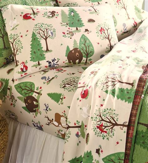 woodland twin bedding king woodland friends flannel sheet set bedding accessories
