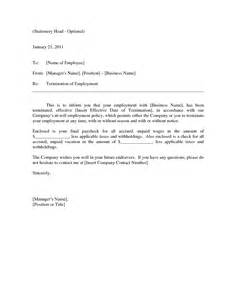 Termination Letter Template At Will Best Photos Of At Will Employee Termination Letter At Will Termination Letter Sle Sle