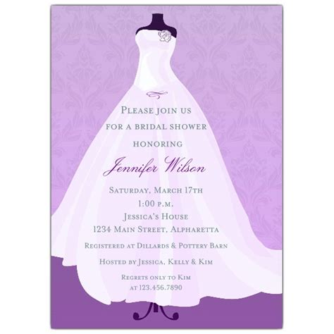 Bridal Shower Invitation by Flowing Lilac Gown Bridal Shower Invitations Paperstyle