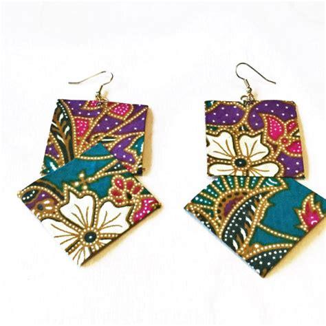 Handmade Prints - malaysia fabric earrings handmade malaysian batik