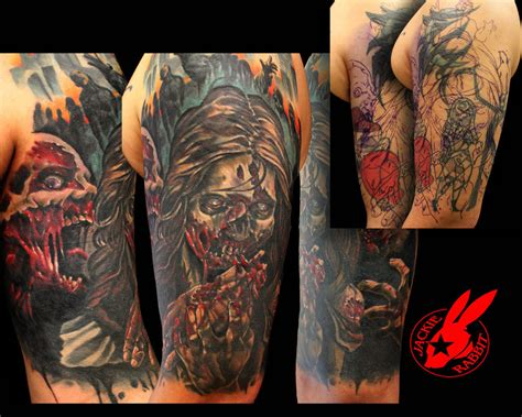 tattoo arm sleeve cover up zombie cover up sleeve tattoo by jackie rabbit by