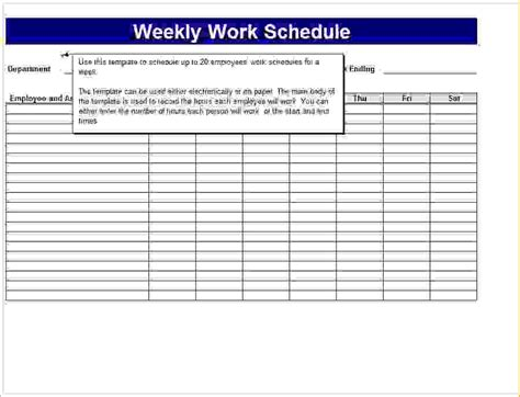 7 Schedule Templates Memo Formats 7 Day Work Schedule Template