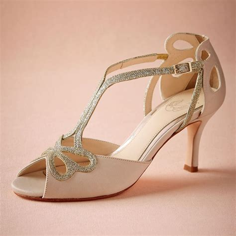 braut sandalen blush low heel wedding shoes hollow out peep toe bridal