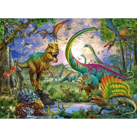 printable dinosaur jigsaw puzzles realm of the giants xxl 200 piece jigsaw puzzle from