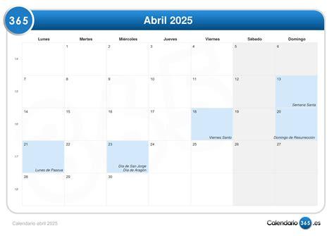 Calendario De 2025 Calendario Abril 2025