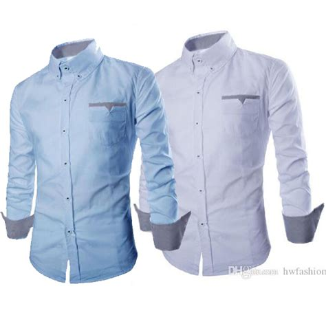 hem boston ot pakaian pria kemeja slim fit warna biru muda dan putih elevenia