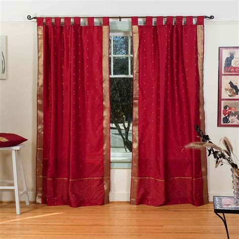 maroon curtains maroon tab top sheer sari curtain drape panel piece