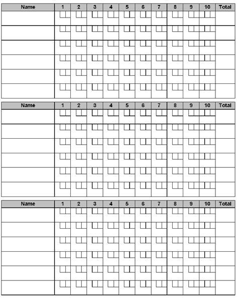 Ten Pin Bowling Score Sheet Template by 10 Pin Bowling Score Sheet