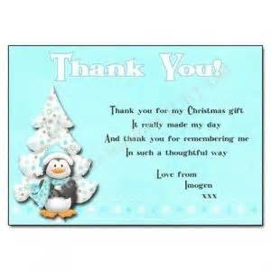christmas gift thank you card wording special day