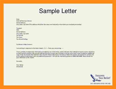 Explanation Letter Awol Sle Irs Cover Letter 16 Images 8 Incident Report Letter Addressing Letter 100 Income Tax